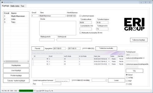 ERI AIKA BASIC työajanseuranta ohjelma Käyttäjä sivu