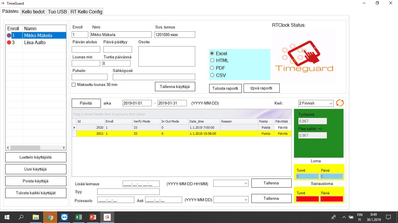 Timeguard Basic Plus, tuntikirjaus ohjelma